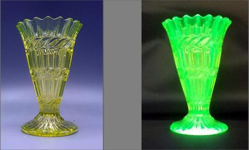 Victorian Uranium Glass Trumpet Posy Vase - C1880 (1 of 6)