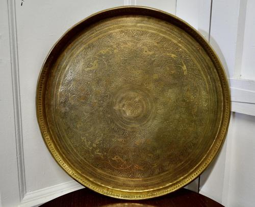Large Asian Round Brass Table Top Tray (1 of 5)