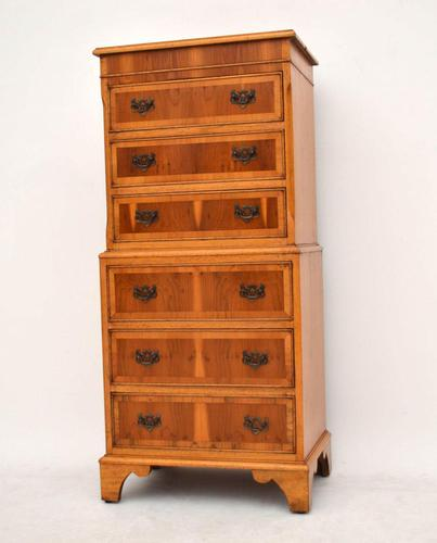 Antique Georgian Style Yew Wood Chest on Chest (1 of 13)