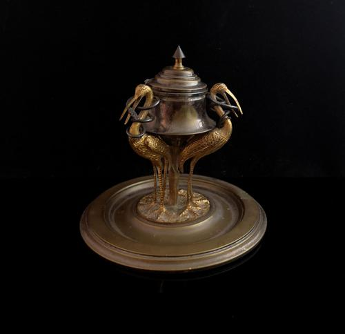 Antique French Inkwell, Storks & Snakes (1 of 12)