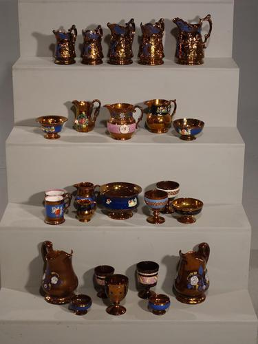 Attractive Collection of 25 Pieces of 19th Century Copper Lustreware (1 of 3)