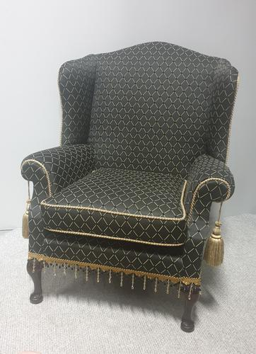 Georgian Style Upholstered Wing Armchair c.1920 (1 of 7)