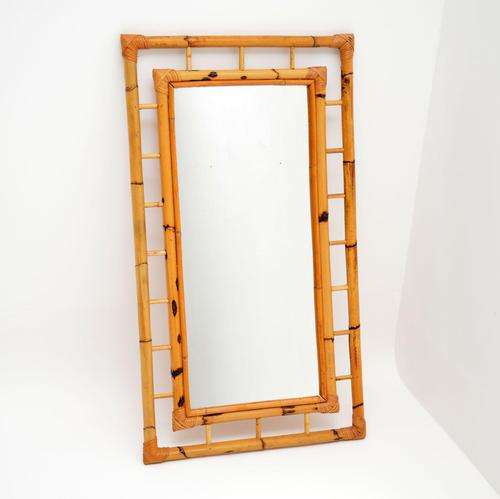 1970's Vintage Bamboo Frame Mirror (1 of 8)