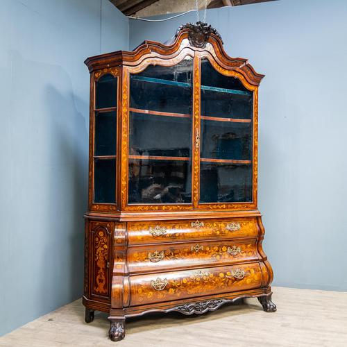 Marquetry Bombe Fronted Display Cabinet (1 of 14)