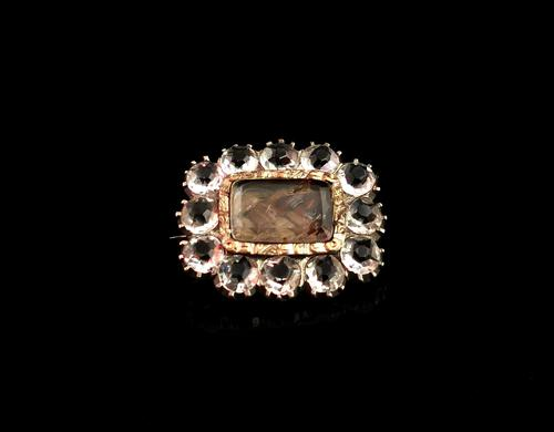 Georgian Mourning Brooch, 9ct Gold, Hairwork and Paste (1 of 12)