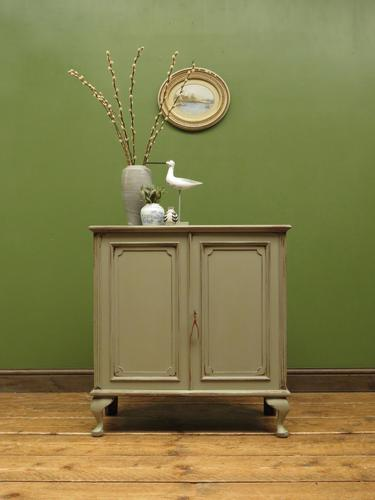 Small Antique Grey Painted Cabinet, Shabby Chic (1 of 8)
