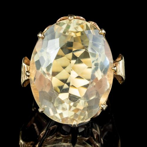 Vintage Citrine Cocktail Ring 9ct Gold Large 35ct Citrine Dated 1974 (1 of 6)
