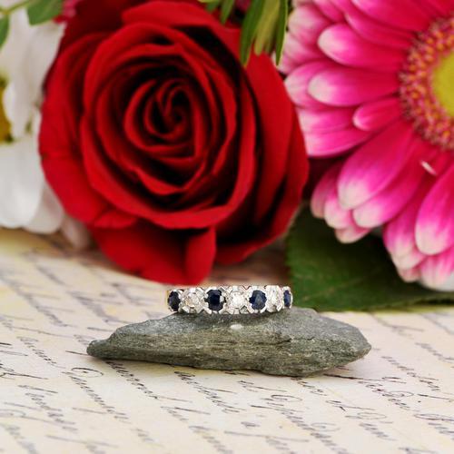 The Vintage 1979 Sapphire & Diamond Half Hoop Ring (1 of 5)