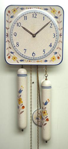 Rare Kitch Ceramic Pot Clock – Weight Driven 1950s Kitchen Striking Wall Clock (1 of 10)