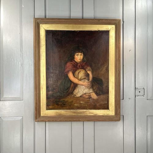 Antique Victorian Oil Painting Portrait of Girl in Red Shawl (1 of 10)