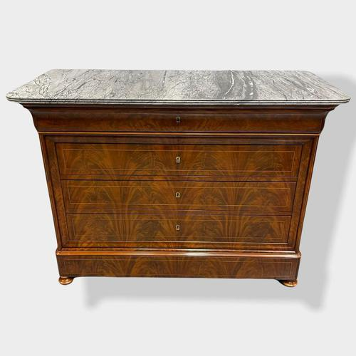Exceptional Quality Inlaid Marble Top Commode (1 of 12)