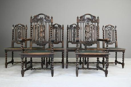 8 Victorian Jacobean Style Oak Dining Chairs (1 of 12)