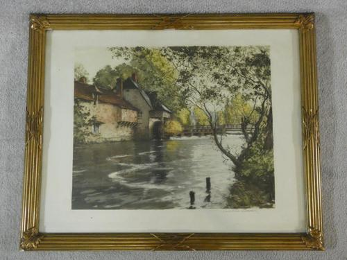 Paul Emile Lecomte - French Rural Weir Pool - Etching Signed (1 of 3)
