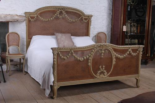 Spectacular small super king size French caned bed + (1 of 10)