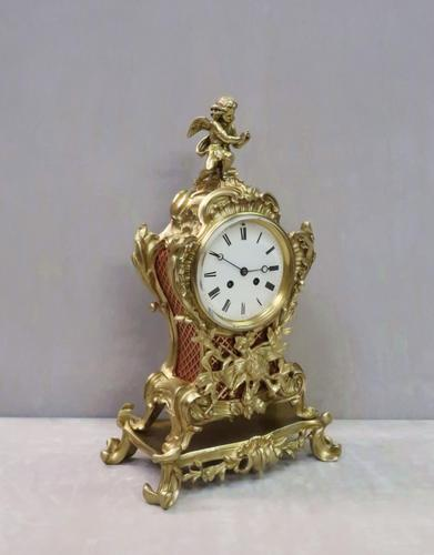 French Rococo Style Brass & Gilt Mantel Clock by Japy Freres (1 of 10)