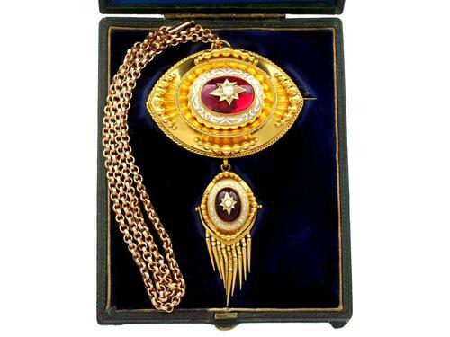 6.20ct Garnet, Pearl & Enamel, 18ct Yellow Gold Pendant / Brooch - Antique c.1880 (1 of 15)