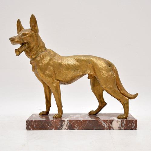 Large Antique Gilt Bronze Dog Sculpture by Robert  Bousquet (1 of 9)