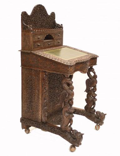 Burmese Davenport Desk Antique Hand Caved Burma Furniture 1885 (1 of 11)