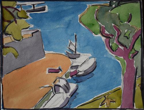 LoÏs Hutton Avant-Garde Art Deco Watercolour 1920 (1 of 8)