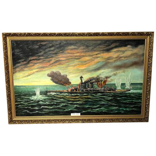 "Large Marine Oil Painting WW2 Sea Battle ""HMS Battleship Hood The Last Moments"" (1 of 8)"
