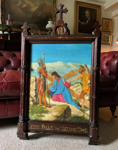 Lovely 19th Century Religious Old Master Christ & Cross Oil Painting - Set 14 Available (1 of 19)