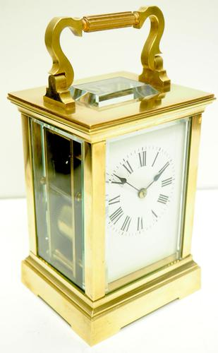Good Antique French 8-day Carriage Clock Bevelled Case Large Dial & Carry Handle (1 of 13)