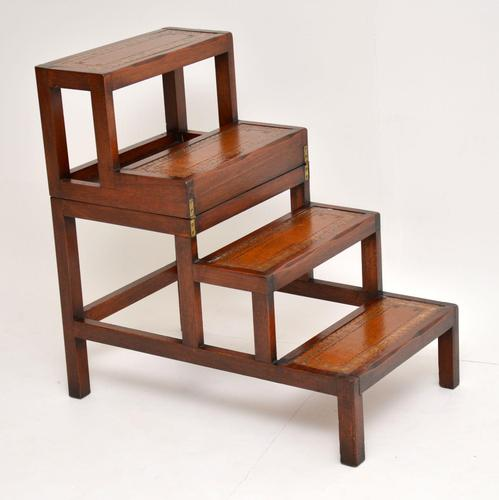 Antique Mahogany & Leather Folding Library Steps / Coffee Table (1 of 11)