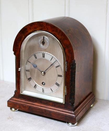 Burr Walnut Arch Top Bracket Clock (1 of 11)