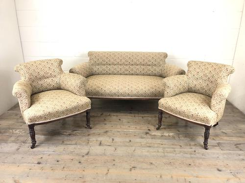 Victorian Three Piece Suite with Gold Floral Upholstery (1 of 26)