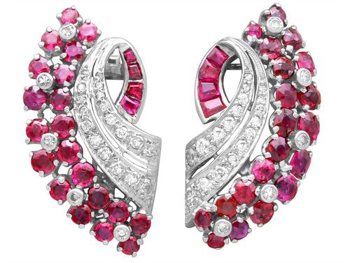 1.86ct Ruby & 0.55ct Diamond, 12ct White Gold Earrings c.1930 (1 of 9)