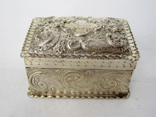 Decorative Rectangular William Comyns Victorian Silver Box (1 of 8)