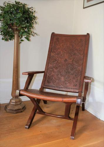 Peruvian Tooled Saddle Leather Folding Armchair (1 of 13)