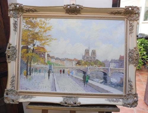 Large Oil on Canvas Notre Dame Artist L Du Bois 1960s (1 of 10)