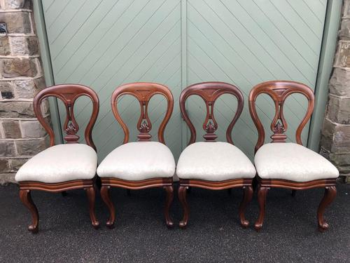 Antique Set of 4 Mahogany Balloon Back Dining Chairs (1 of 11)