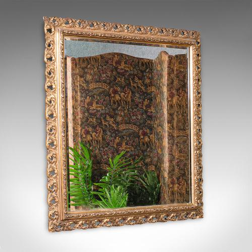 Antique Bevelled Mirror, English, Gilt Gesso, Overmantel, Hall, Victorian, 1900 (1 of 10)