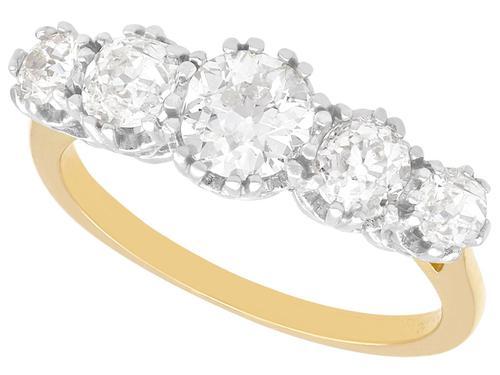 1.92ct Diamond & 18ct Yellow Gold Five Stone Ring - Vintage c.1940 (1 of 9)