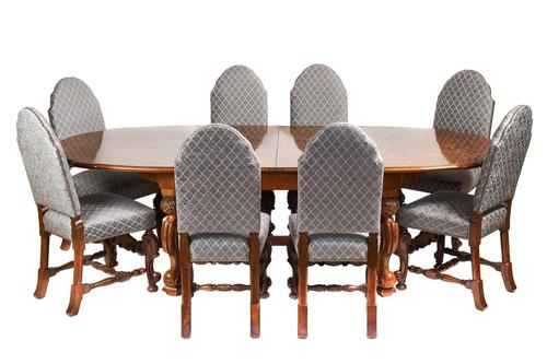 Antique Walnut Carved Dining Table & Set of 8 Carved Dining Chairs (1 of 8)
