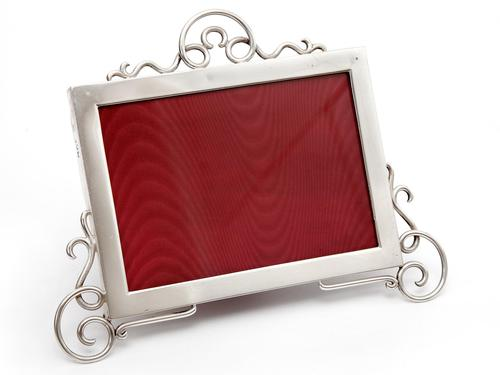 Edwardian Silver Picture Frame with a Plain Mount and Thick Gauge Applied Scrolling (1 of 4)