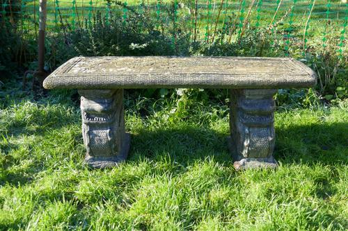 Old Weathered Oriental Cast Garden Bench, with Dragons (1 of 11)