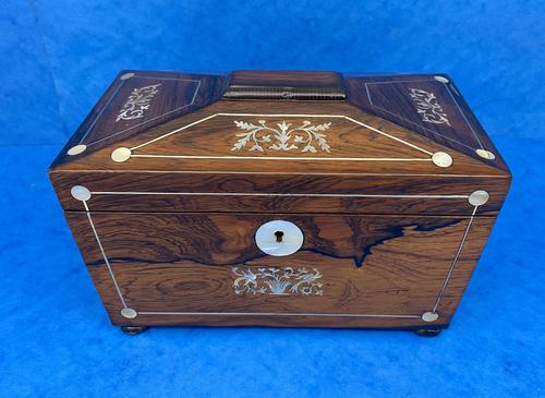 William IV Rosewood Twin Section Tea Caddy with Inlay (1 of 11)