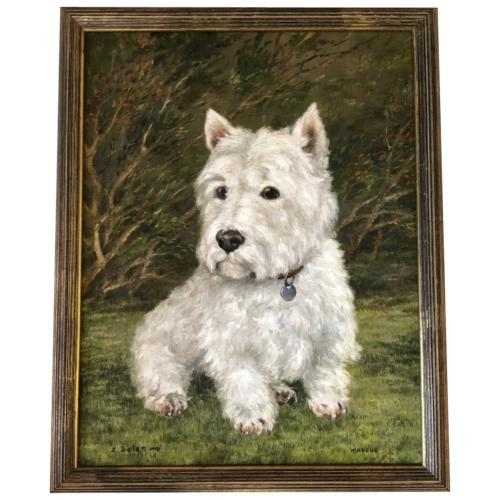 20th Century Oil Painting Animal Portrait Highland Westie White Terrier Dog (1 of 12)