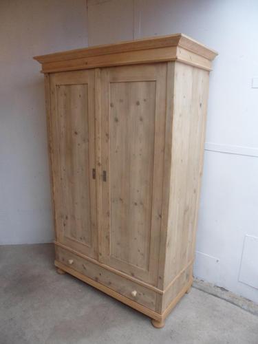 Large Antique Pine 2 Door Knockdown Wardrobe to wax / paint (1 of 7)