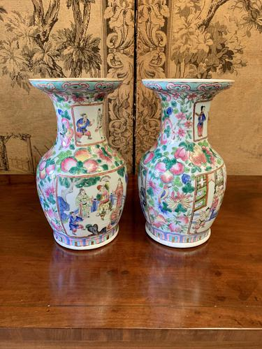 Pair of 19th Century Japanese Painted Vases (1 of 3)