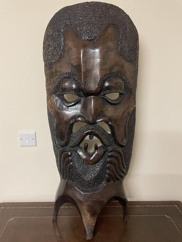 Huge African Hand Carved Free Standing Mask (1 of 6)