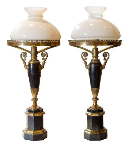 Pair of French Restauration Colza lamps c.1835 (1 of 7)