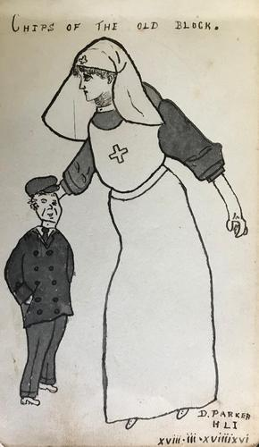 Original pen and wash drawing of a 1st World War nurse and a man in a cap titled 'Chips of the old block'. Signed D. Parker of the Highland Light Infantry. Dated 18.3.1916 (1 of 1)