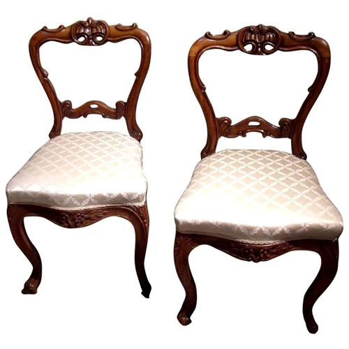 Pair of 19th Century Carved Satinwood Balloon Back Chairs (1 of 9)