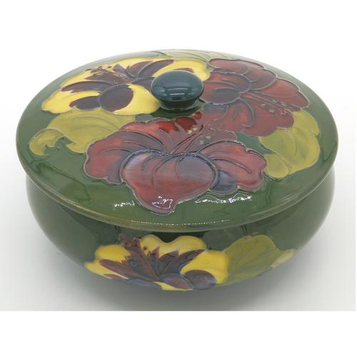 A Walter Moorcroft Hibiscus Lidded Bowl C.mid 20thc (1 of 7)