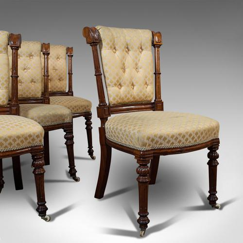 Set of 4 Antique Chairs, Scottish, Walnut, Suite, Dining, Victorian c.1890 (1 of 12)