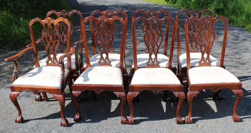 1960s Set of 8 Mahogany Chippendale Style Dining Chairs Pop Out Seats (1 of 4)